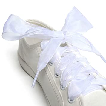 AchidistviQ - Cordones para Zapatos, 1 par, 110 cm, Cinta de Organza, Zapatillas Deportivas, Lazo, Cordones Planos Blanco Blanco: Amazon.es: Hogar