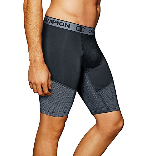 Champion Men's Power Flex Compression Shorts 9-inch_Stealth/Stormy Night_X-L