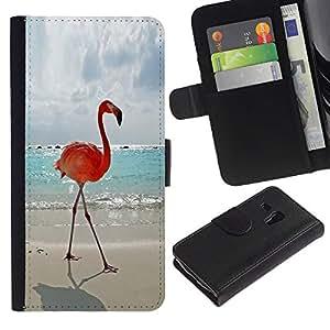A-type (Flamingo Summer Miami Sun Sea Beach) Colorida Impresión Funda Cuero Monedero Caja Bolsa Cubierta Caja Piel Card Slots Para Samsung Galaxy S3 MINI 8190 (NOT S3)