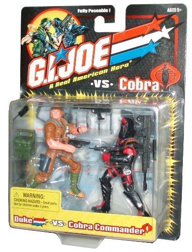 GI Joe vs Cobra Year 2001 Fully Poseable 2 Pack 4 Inch Tall Action Figure - DUKE vs. COBRA COMMANDER with Backpack, Radio, Pistol, Sniper Rifle and 2 Sub-Machine Guns