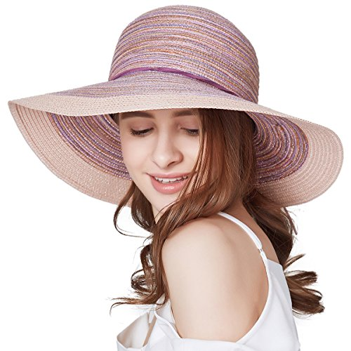 SOMALER Women Floppy Sun Hat Summer Wide Brim Beach Cap Packable Cotton Straw  Hat for Travel fa0c46ced1a2