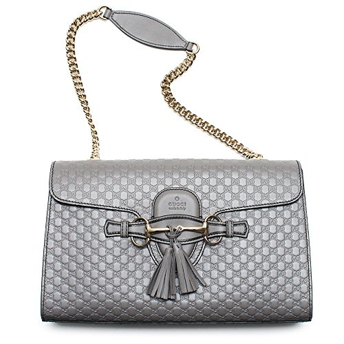 Gucci-Emily-GG-Micro-Shoulder-Lousse-Grey-Gray-Leather-New-Handbag