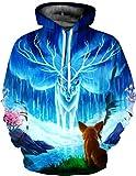 Unisex Realistic 3d Print Galaxy Pullover Hoodie Hooded Sweatshirt (Large/X-Large, Deer B)
