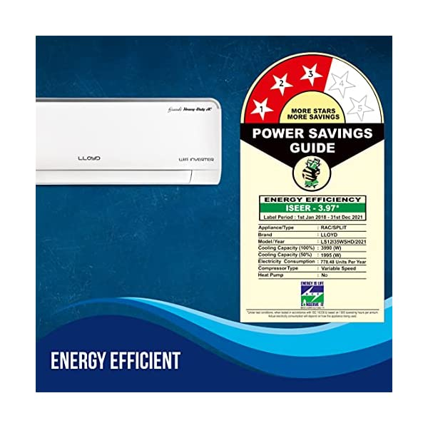 Lloyd 1.0 Ton 3 Star Heavy Duty WiFi Inverter Split AC (Copper, Catechine & Green Bio Filter, 2020 Model, LS12I35WSHD… 2021 July Lloyd Grande Heavy Duty Split AC with Inverter Compressor: Heavy Duty AC, Voice & WiFi Enabled with variable speed compressor which automatically adjusts power depending on desired room temperature & heat load, Powerful Performance yet Energy Efficient, Low Noise Operation with Smart & Elegant Design Capacity: 1.0 ton suitable for medium size rooms (Up to 120 square feet) Energy Rating: 3 Star, Annual Energy Consumption: 778.50, ISEER Value: 3.97 (please refer to energy label on the product page)