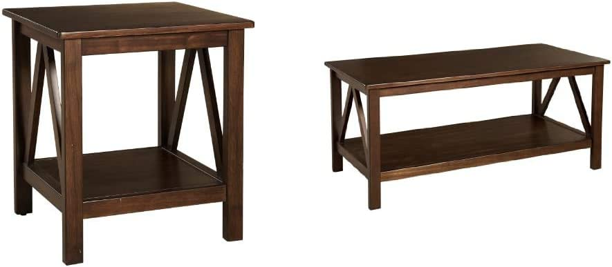 Linon Home Dcor Linon Home Decor Titian End Table, 20%22w x 17.72%22d x 22.01%22h, Antique Tobacco & Linon Home Decor Titian Coffee Table, 44.02%22w x 21.97%22d x 20%22h, Antique Tobacco
