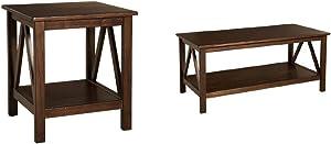 Linon Home Dcor Linon Home Decor Titian End Table, 20%22w x 17.72%22d x 22.01%22h, Antique Tobacco & Linon Home Decor Titian Coffee Table, 44.02%22w x 21.97%22d x 20%22h, Antique Tobacco