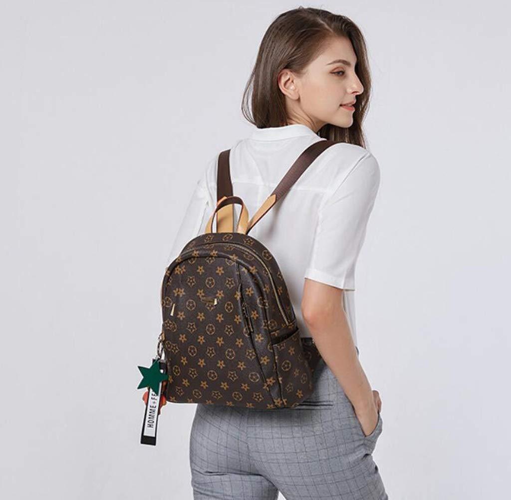 Color : Brown, Size : 291232cm KJVHJN Fashion Printed Backpack Female Spring Retro Anti-Theft Backpack College School Bag