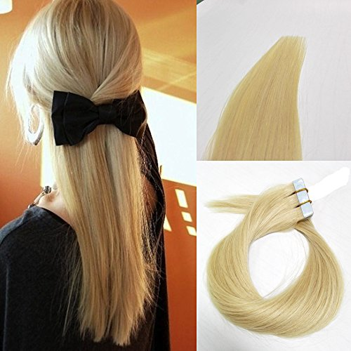 LaBetti tape In Human Hair Extensions - 16 18 20 22 24 Inch 20pcs 30g-70g Set - Silky Straight Skin Weft Human Remy Hair Ash Blonde(16 inch, #60)