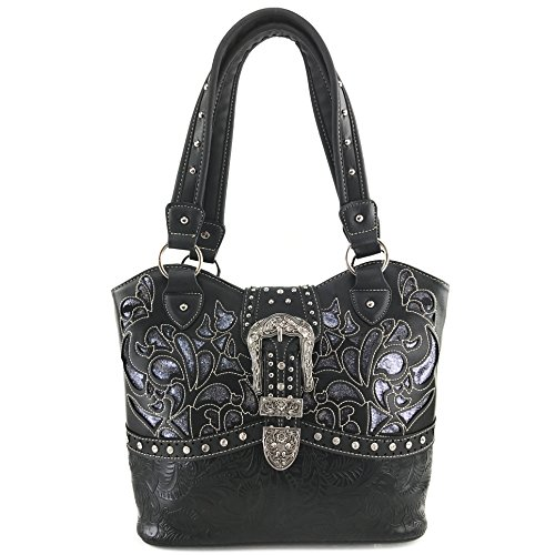 (Justin West Gleaming Laser Cut Rhinestone Buckle Studded Concealed Carry Handbag Purse (Black Purse Only))