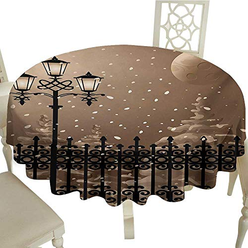 Cranekey 100% Polyester Washable Table Cloth for Circular Table 54 Inch Lantern,Frozen Scenery Iron Fences City Evening Snow and Lanterns Full Moon Graphic,Pale Brown Black Great for,Party & -