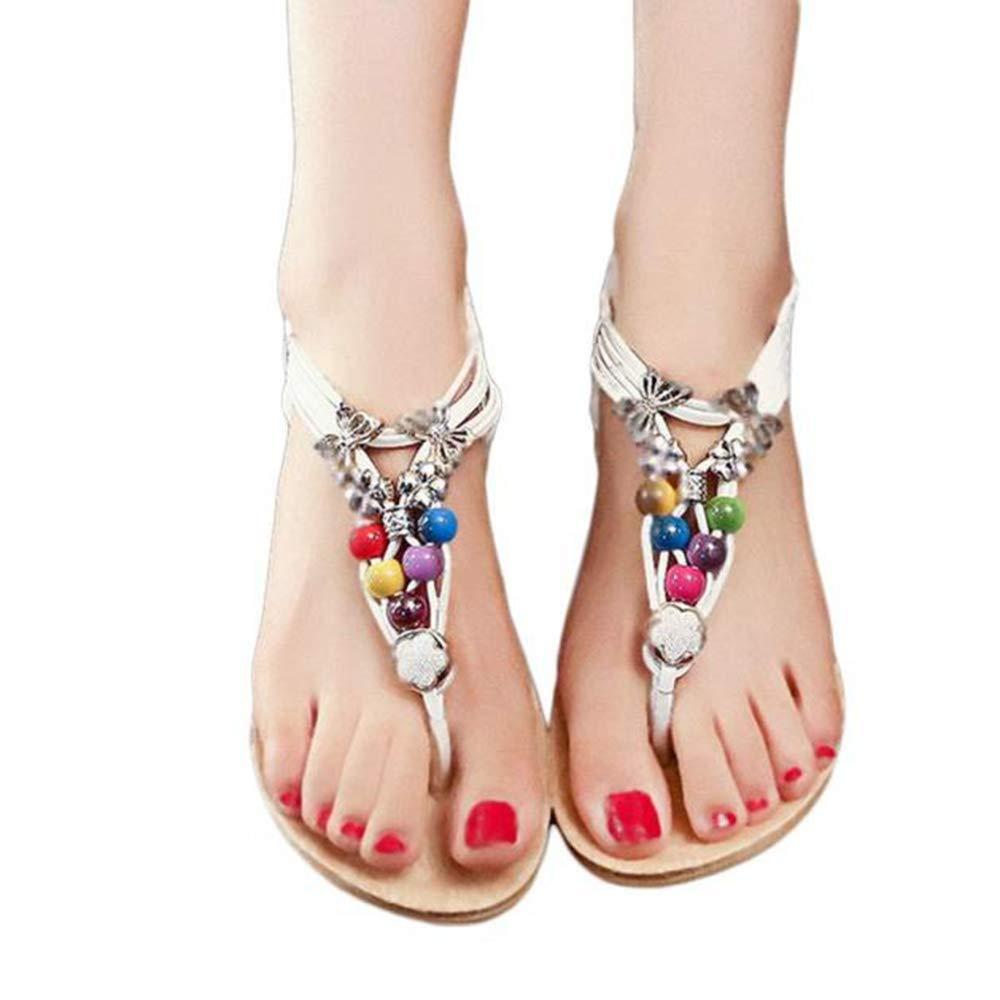 Makulas Womens Beach Sandal Flip Flops Bohemia Sweet Beaded Platform Sandals Clip Toe Flat Shoes for Women Party Single Shoes Black