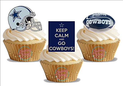 American Football Dallas Cowboys Trio Mix - Fun Novelty Birthday PREMIUM STAND UP Edible Wafer Card Cake Toppers Decoration -