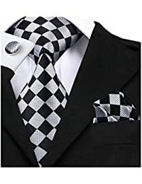 Mens Ties Set Retro Plaid Necktie with Hanky Cufflinks Formal