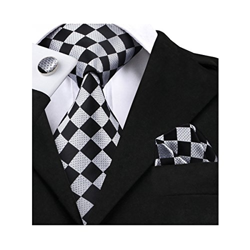 Barry.Wang Classic Ties for Men Geometric Plaid Necktie Set (Geometric Classic Tie)