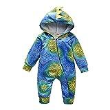 Baby Dinosaur Onesie, Newborn Toddler Baby Dinosaur Costumes Long Sleeve Romper Jumpsuit Outfit Set (Blue, 6-12Months)