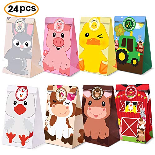 Farm Animal Party Favor Bags,Barnyard Birthday Treat Goody Bags For Farm Animal Party Supplies Pack of 24 ()