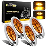 "Partsam 4 Pcs 4-1/3"" Amber Led Oval Side Marker Lights with Chrome Bezel, Oval led Trailer Marker Lights, Trailer Parking and Turn Signal Lights, Small Led Cab Marker Lights"