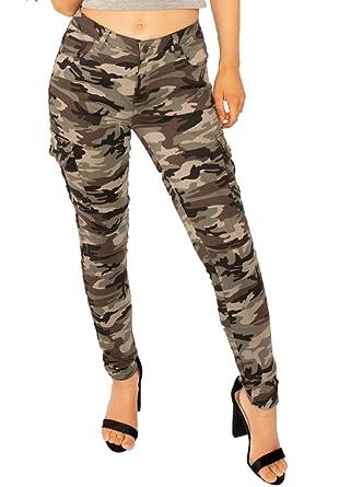 589b573efab5 Pantalon Cargo en Camouflage pour Femme Coupe Slim Skinny - Vert et Marron  - 32
