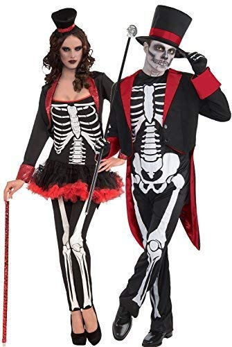 Couples Mens & Ladies Mr and Mrs Skeleton Day of the Dead Sugar Skull Halloween Horror Fancy Dress Costumes Outfits -
