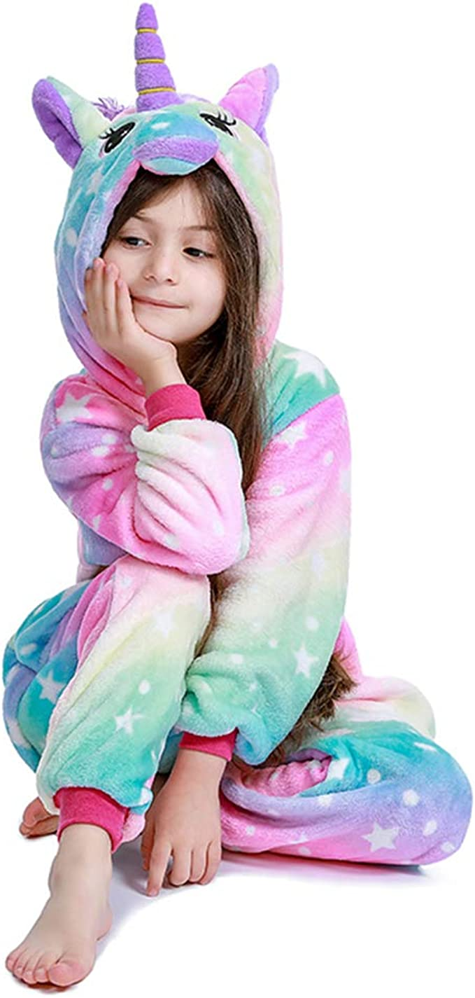 PlushCosplay Kids Galaxy Star Unicorn Onesie Pajamas Animal Costume Halloween Cosplay Colorful 2-4T