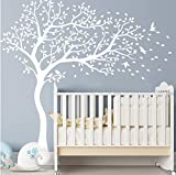 Nursery Wall Sticker -White Tree and Flying Birds Blossom Tree Wall Decal -Tree Mural for Kids Room (White (Face Right))