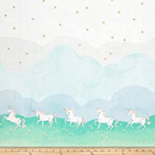 Michael Miller Sarah Jane Magic Metallic Unicorn Parade Double Border Mint Fabric By The Yard