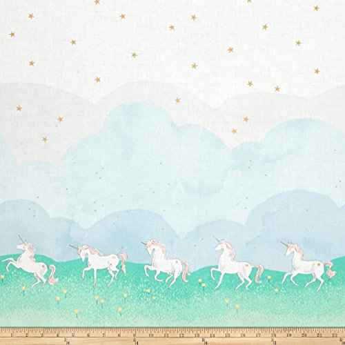 Michael Miller 0449205 Sarah Jane Magic Metallic Unicorn Parade Double Border Mint Fabric by the Yard