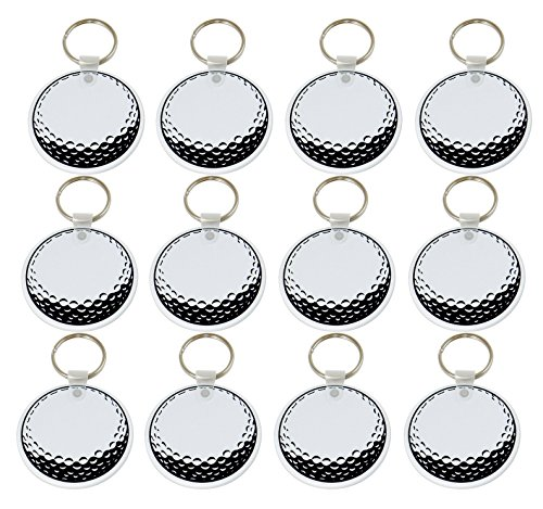 "Golf Ball Key - Tom David Lewis Lot of 12 - Key Rings with 2"" Round, Flat, Sturdy Vinyl Fob - Golf Ball Keychain."