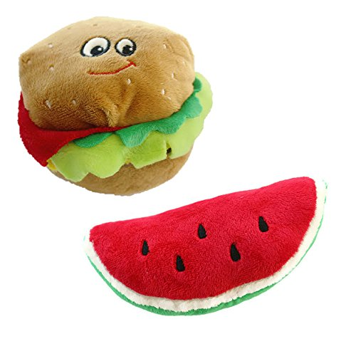 Cheap Dog Chew Toys Plush Squeaky Toys – Foodies Collection Assorted Sizes   Dog Toy Variety Pack Includes Hamburger 5.5″ and Watermelon 7″   2 PACK SET (Hamburger Watermelon)