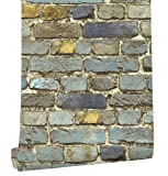 HaokHome 7704 Brick Wallpaper Rolls Blue/Yellow/Brown/Black Distressed Murals Home Kitchen Bathroom Decoration 20.8'' x 32.8ft