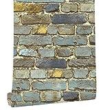 HaokHome 7704 Brick Wallpaper Rolls Blue/Yellow/Brown/Black Distressed Murals Home Kitchen Bathroom Decoration 20.8'' x 32.8ft