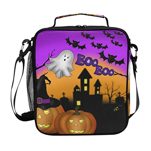 TFONE Halloween Ghost Owl Pumpkin Lunch Bag Reusable Insulated Cooler Meal Prep Lunch Tote Bag with Shoulder Strap Lunch Bag for School Office Work Hiking Picnic Lunch Box -