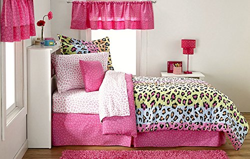 SAFARI RAINBOW Color Zebra/Leopard Print (Pink, Lime, Blue,Yellow) 11pc Room Ensemble (Comforter & Sheet Set, Toss Pillow and Two Window Valances) (FULL)