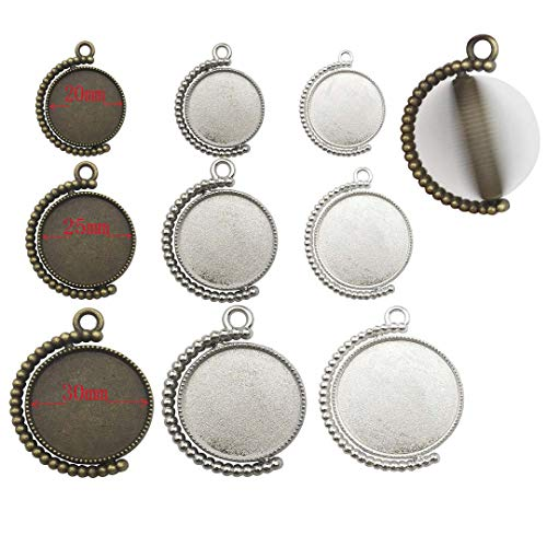 Youdiyla 9 Sets - Double Sided Rotate Pendant Tray with Match Glass Cabochon, Base Setting Blank Bezel Frame Cameo Metal Alloy Pendants for Jewelry Making DIY Findings (20mm+25mm+30mm HM135) ()