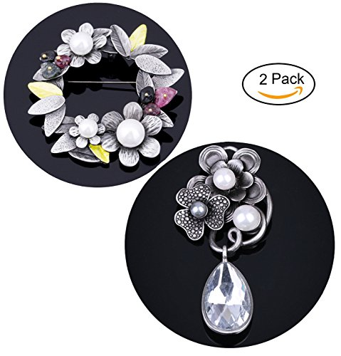 2 Pcs Antique Silver Tone Natural Stone Beads Brooches Pins Headmade Flower Brooches Jewelry for women (Set 3) (Stone 3 Brooch)