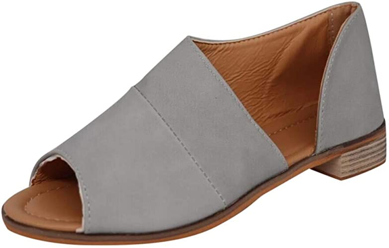 Women Peep Toe Flat Sandals,veyikdg