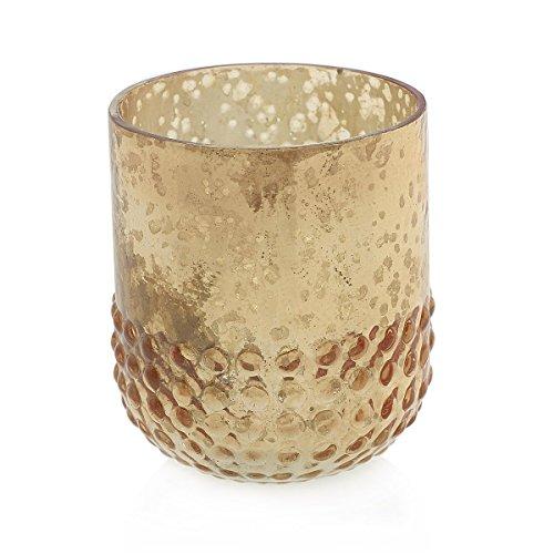 Mercury Glass Votive Candle Holder, Hobnail Vase, 3in, Rose Gold, 6 Pk ()