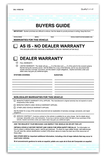 (2 Part Dealer Buyers Guide Form, English Format - As Is - No Dealer Warranty / Dealer Warranty)