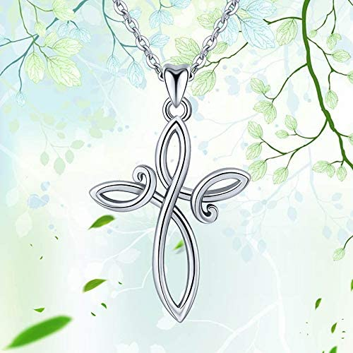 Davitu Necklaces Angel Caller 925 Sterling Silver Designed Celtics Knot Cross Pendant Necklace for Women Fine Jewelry 925 Silver Gift CYD213 Gem Color: Pendant only