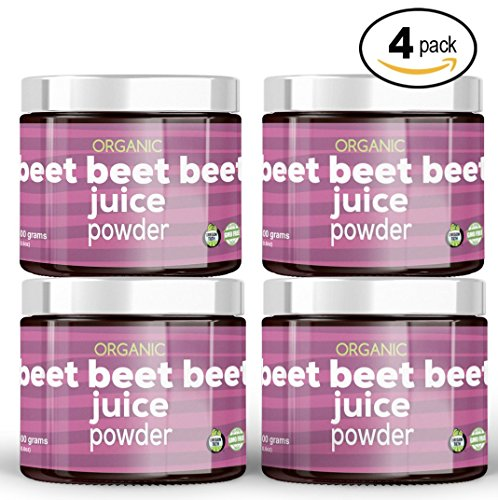 Beet Beet Beet, Organic Beet Juice Powder, 4 Jars (300G), 100% Pure USA Grown Beets, NO Additives or Flavors, Cold Temperature Processed for Maximum Potency. 100% organic, GMO-free NO added sugar by Beet Beet Beet