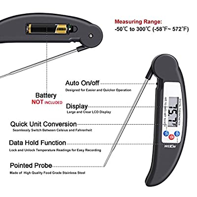 Wekin Instant Read Digital Meat Thermometer w/ LCD Display and Super Long Collapsible Internal Probe, for Kitchen BBQ Cooking Grilling Frying&Baking Milk and Bath Water