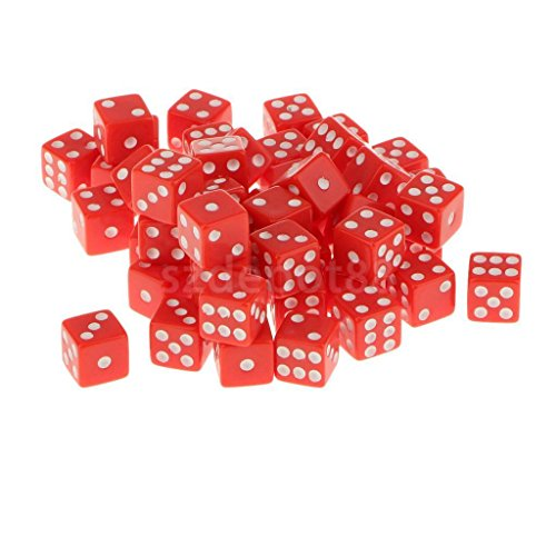 12mm 50Pcs Acrylic Playing Dice Set Children Kids Party Toys Red by uptogethertek