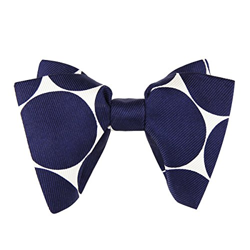 Mens 100% Silk Oversized Pre-tied Bowtie Handmade Solid Formal Tuxedo Big Bow Ties (Blue wave point)