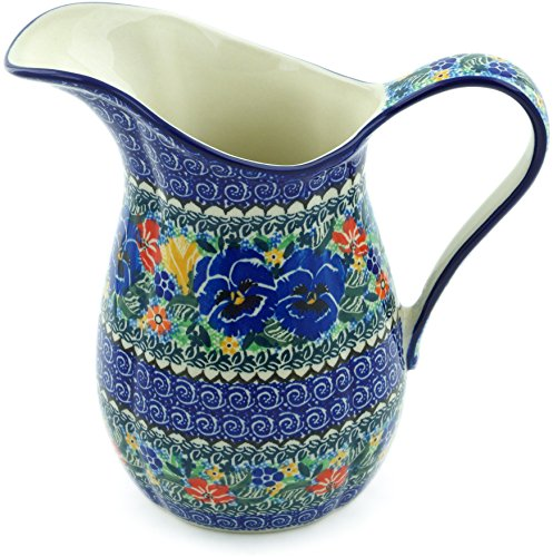 Polish Pottery 6 Cup Pitcher made by Ceramika Artystyczna (Pansy Pair Garden Theme) Signature UNIKAT + Certificate of Authenticity