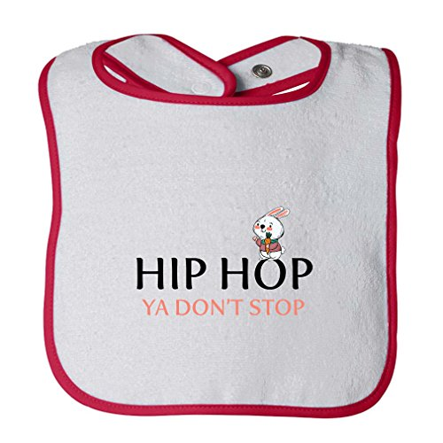 Hip Hop Ya Don'T Stop Infant Contrast Trim Terry Bib White/Red by Cute Rascals