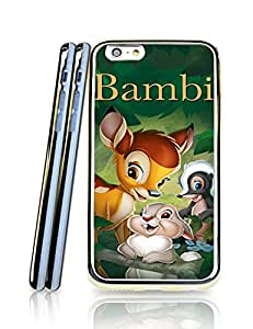 Disney Bambi Solid Personalized Cute Flip 2 in 1 TPU Golden Border Series Protector Funda Case For Iphone 6 6s(4.7 inch)