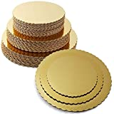 8 10 12 Inches Round Tierd Cake Boards Combo - Cardboard Disposable Layered Cake Pizza Circle Scalloped Gold Stackable Tart Decorating Base Stand - 30 Pieces
