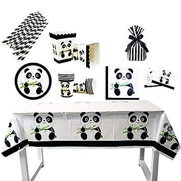 Tukistore 93 Piezas Juego de Fiesta temática Panda la decoración Fiesta de cumpleaños para niños, Platos de Papel, Tazas, servilletas,Mantel, Caja de ...