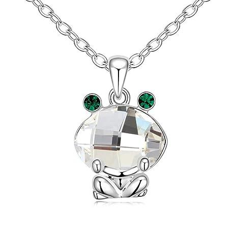 853b536db32a QINJLI Collar con Ornamento Colgante de Cristal Elementos Rana cristalino