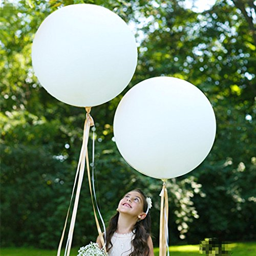 GuassLee Giant Round Balloons 36-inch White Balloons Large - 6 Pack Big Latex Balloons for Birthdays Wedding Photo Shoot and Festivals Christmas and Event -